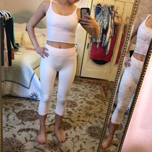 small pink New Balance for J Crew crops leggings